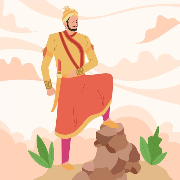 Concetto di illustrazione shivaji maharaja Vettore gratuito