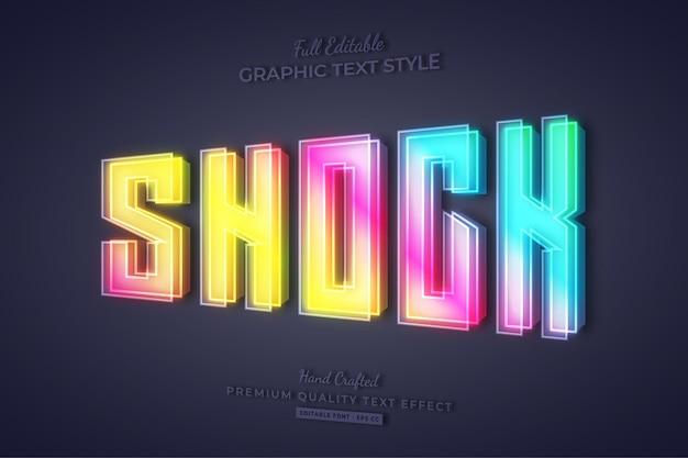 Shock colorful gradient 3d editable text effect font style Premium Vector