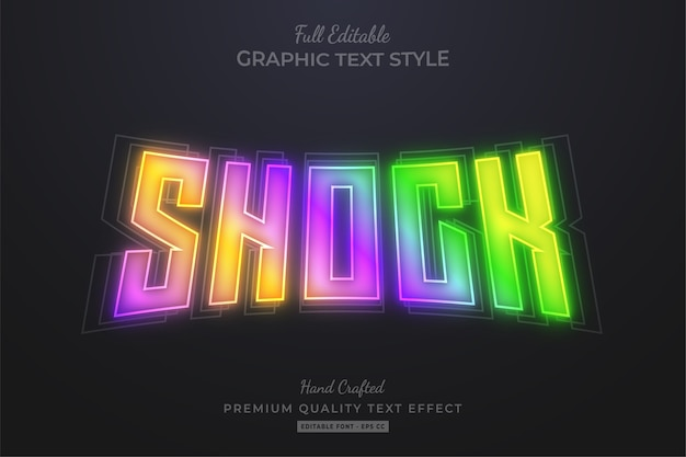 Shock gradient glow editable text effect Premium Vector