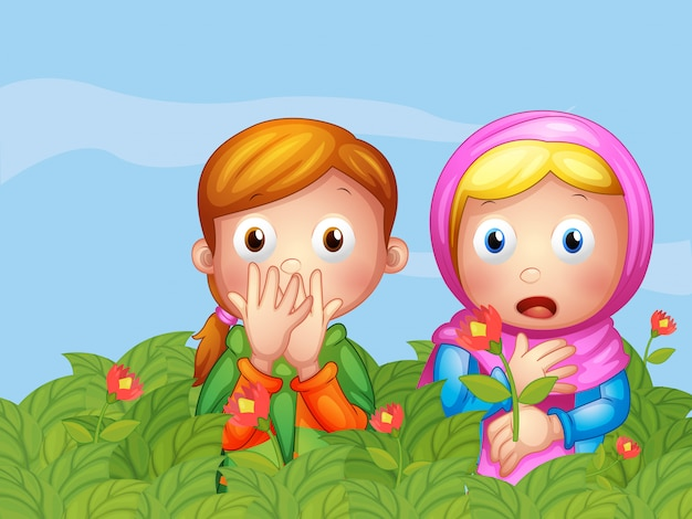 Shocked faces of two ladies in the garden Free Vector