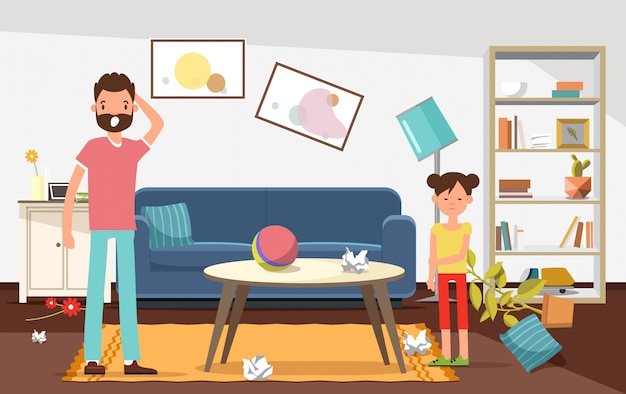 Shocked father with his daughter looking at mess. Premium Vector