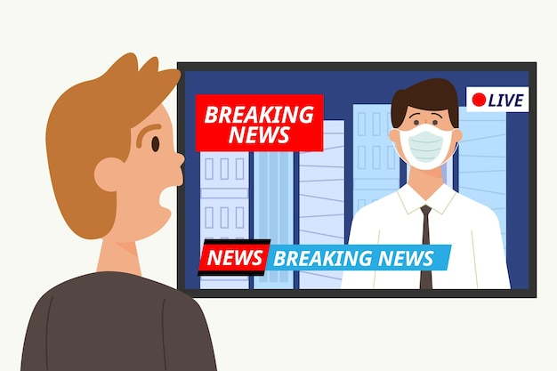 Shocked man watching the breaking news Free Vector