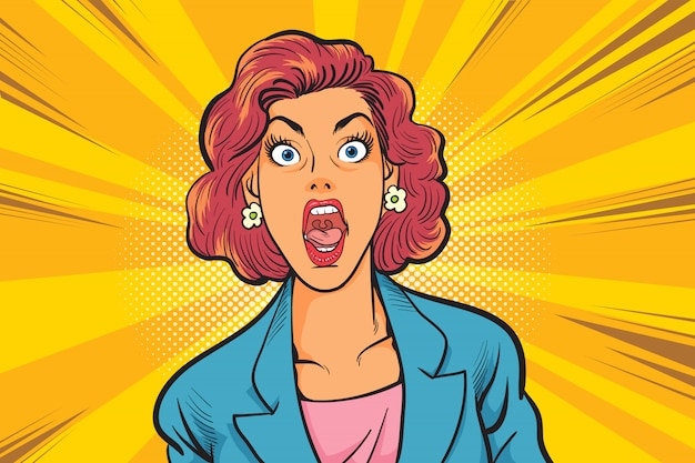 衝撃的なビジネス女性はコミックスタイルを手します。ポップアートコミックスタイルで美しい驚く女性。 Premiumベクター