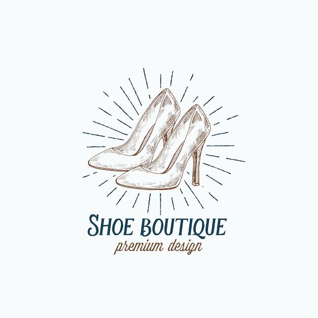 Обувной бутик ретро, логотип Premium векторы