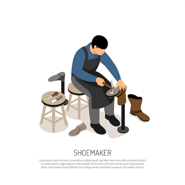 ワークショップ等尺性でプロのツールと靴メーカー 無料ベクター