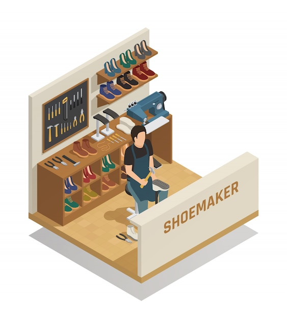 Shoe repairing service isometric composition Free Vector
