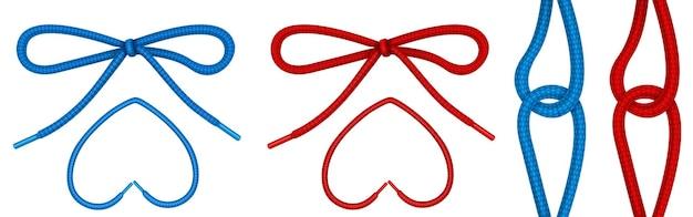 Lacci legati con nodo e fiocco, corde per scarpe a forma di cuore e cerniera. Vettore gratuito