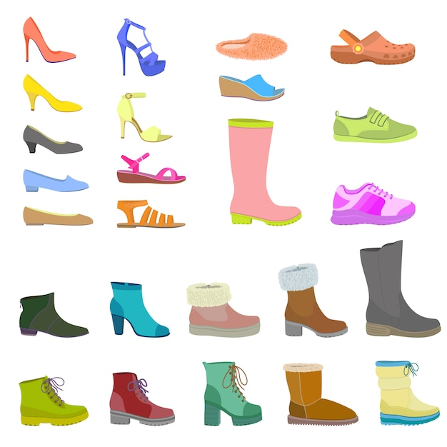Shoes icon set, flat style Premium Vector
