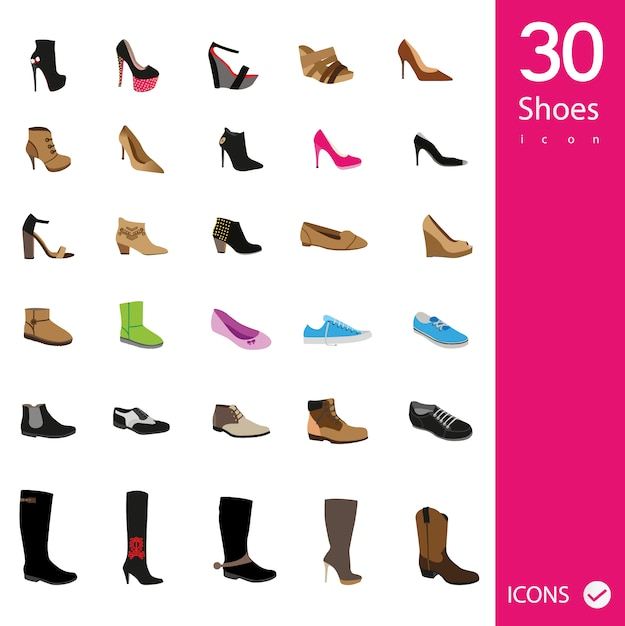 Shoes icons collection Free Vector
