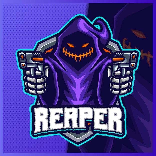 Shooter Grim Reaper Hood 마스코트 Esport 로고 디자인 일러스트 템플릿, 팀 게임용 Devil Shooter 로고 프리미엄 벡터