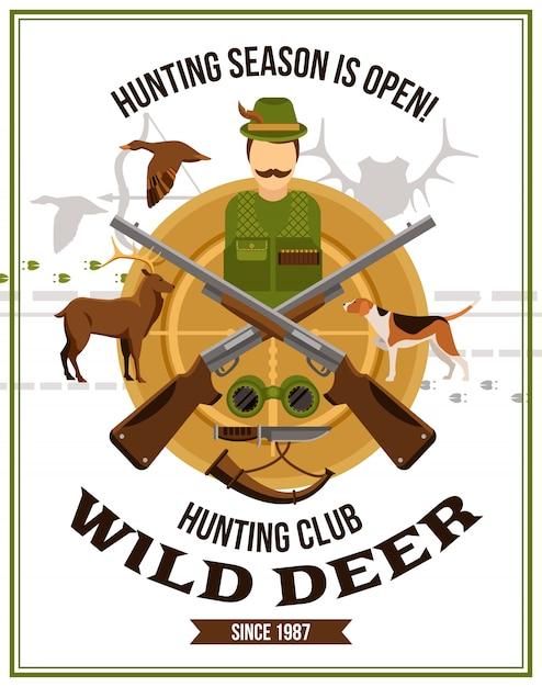 Shooting hunting poster Free Vector