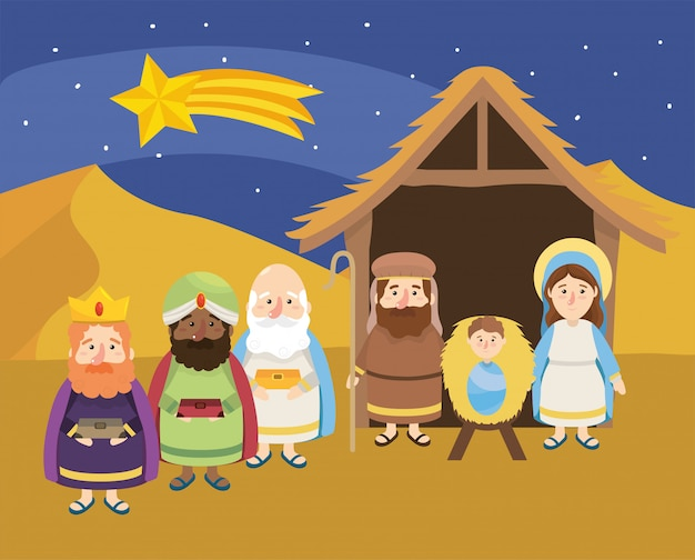 Shooting star and magicians kings with jesus Premium Vector