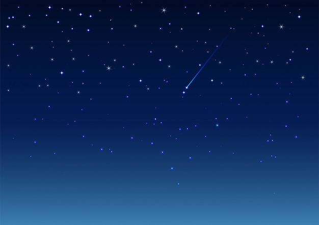 Shooting star in night sky Premium Vector