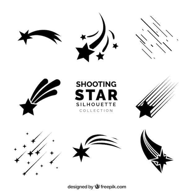 Shooting star silhoutte collection Free Vector