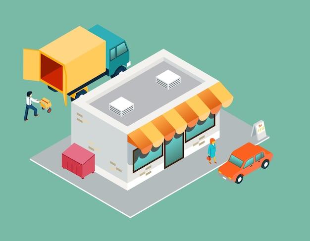 Магазин и доставка изометрическая 3d вид сверху. купля-продажа, коммерческое обслуживание, технологическая логистика, поддержка покупателя. Premium векторы
