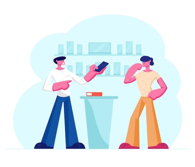 카운터 데스크에 서있는 고객에게 손에 스마트 폰을 보여주는 쇼핑 도우미. 만화 평면 그림 프리미엄 벡터