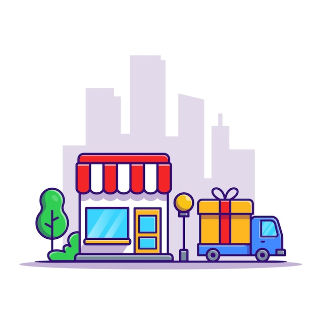 Shop building and delivery truck car cartoon Free Vector
