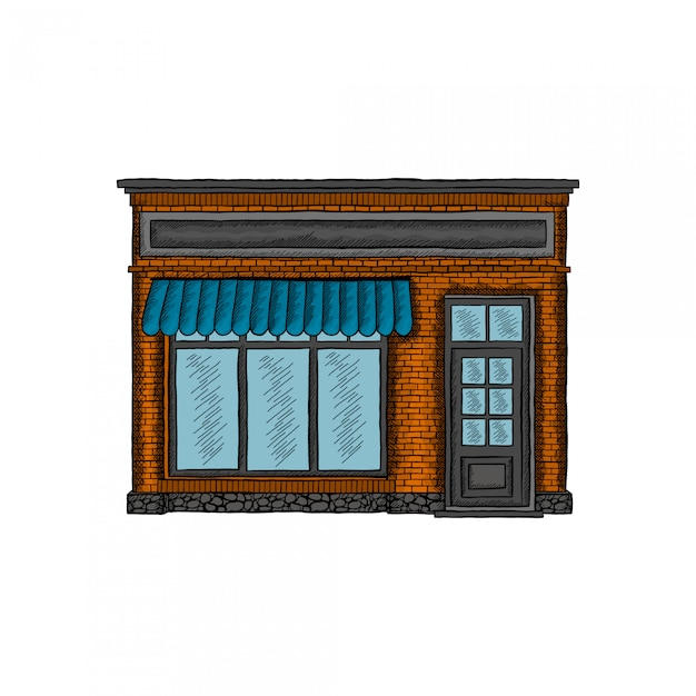 Shop building hand drawing Premium Vector