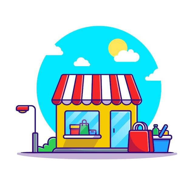 쇼핑 카트 및 쇼핑 건물 만화 무료 벡터