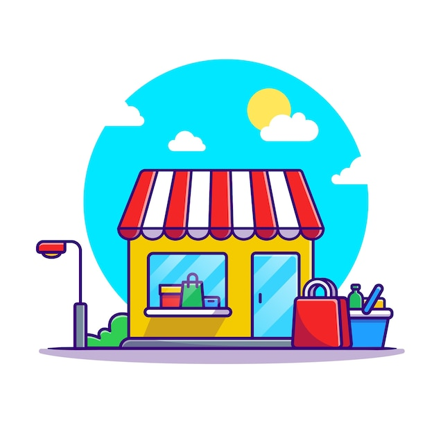 Shop cart and shop building cartoon Free Vector