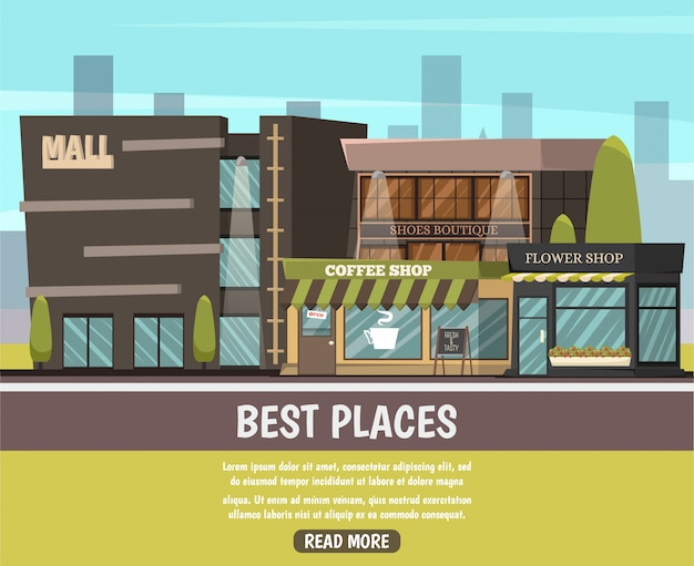 Shop in city illustration Free Vector