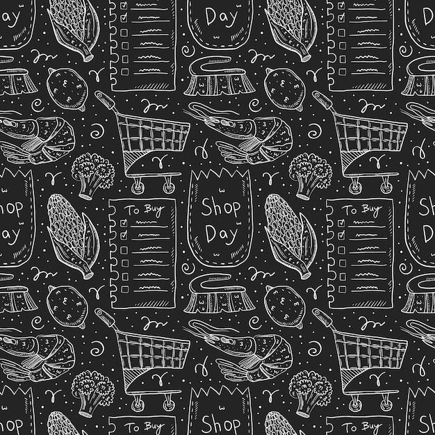 Shop day doodle seamless pattern Premium Vector