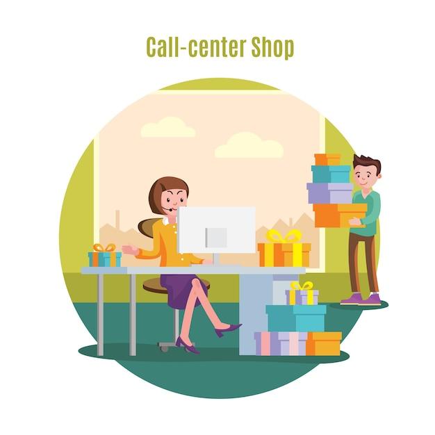 Shop helpline service concept Free Vector