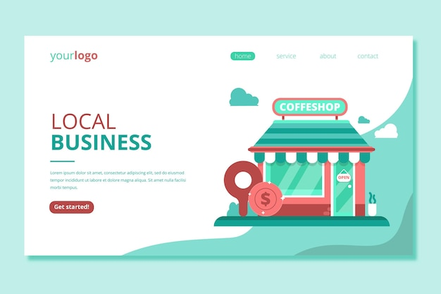Shop local business landing page Free Vector