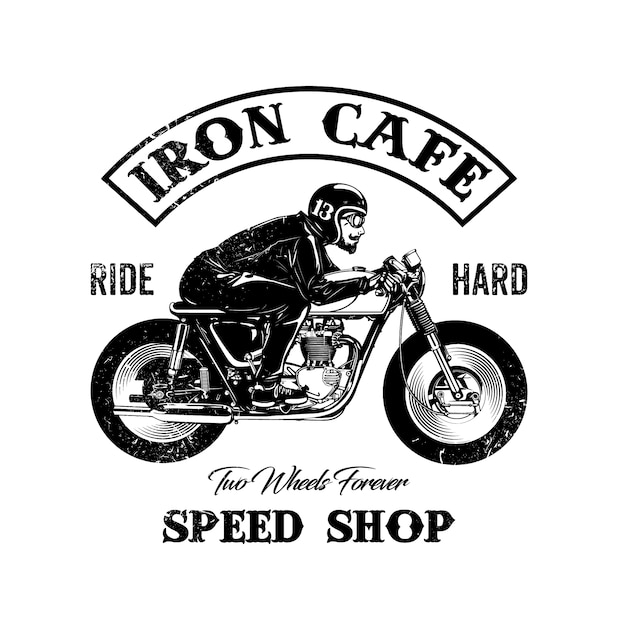 Shop logo motorbike design Free Vector