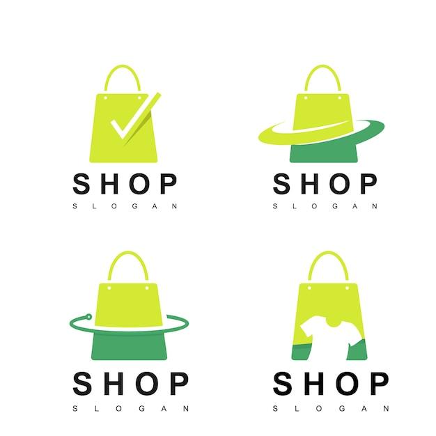 Shop logo set Premium Vector