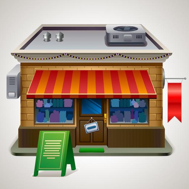 Shop or market store front exterior facade, illustration Premium Vector