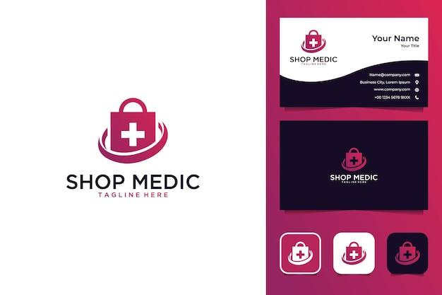 의료 현대 로고 디자인 및 명함 쇼핑 프리미엄 벡터