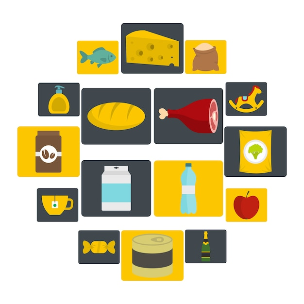 Shop navigation foods icons set in flat style Premium Vector