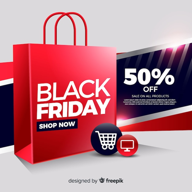 Shop now black friday banner Free Vector