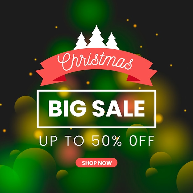Shop now blurred christmas sale Free Vector