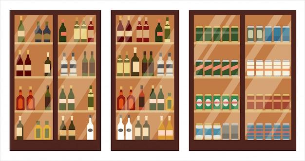 Магазин алкоголя. полки Premium векторы