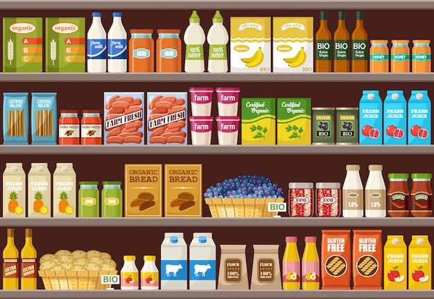 Магазин органических продуктов. супермаркет Premium векторы