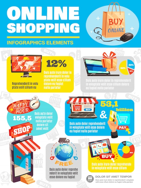 Shop online infographic poster Free Vector