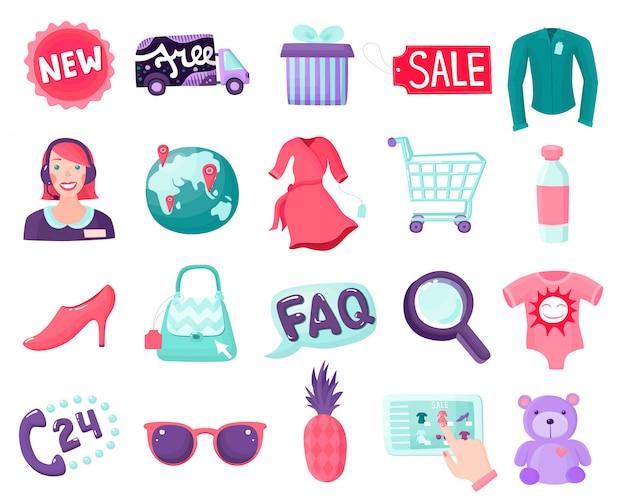 Shop online items collection Premium Vector