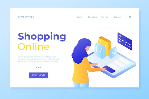 Shop online and pay by card landing page Free Vector
