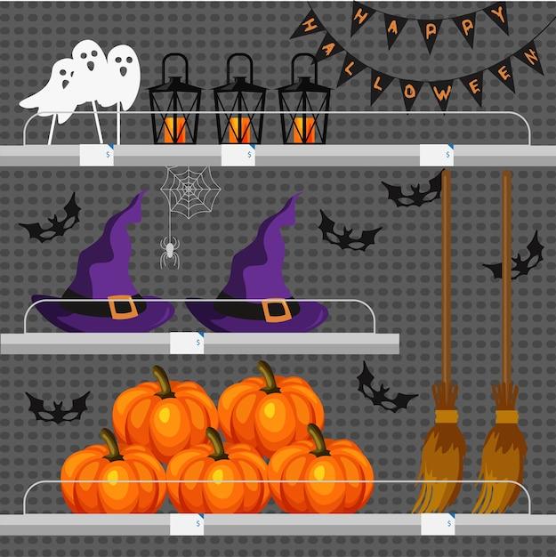 할로윈 속성을 가진 상점 또는 상점 카운터. 휴일 분위기. 선반에 호박, 마녀 모자, 빗자루, 박쥐, 유령, 가면, 꽃줄 및 가로등. 프리미엄 벡터