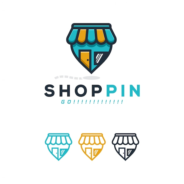 Shop pin logo concept. Premium Vector