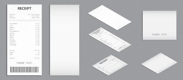 ショップのレシート、バーコードトップとパースビューの紙の現金小切手。購入請求書、空白および印刷された請求書の現実的なセットをベクトルします。孤立したショッピングチェック 無料ベクター