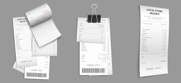 Магазинные чеки, бумажные кассовые чеки со штрих-кодом. Бесплатные векторы