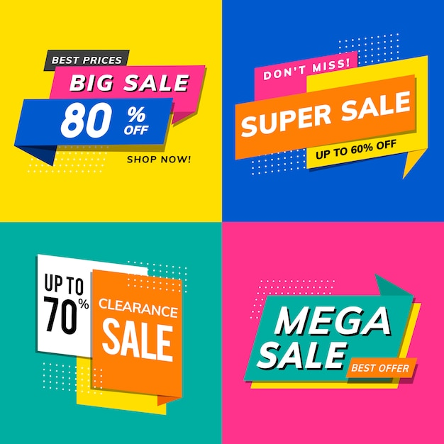 Shop sale promotion advertisements vector set Free Vector
