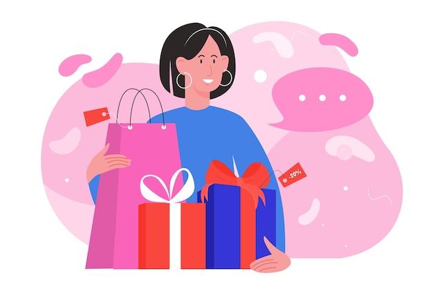ショップ販売イラスト。ギフトボックスとショッピングバッグを保持している幸せな女性の買い物客のキャラクター、店で季節割引セールでプレゼントを買う買い物中毒のバイヤーの女の子 Premiumベクター