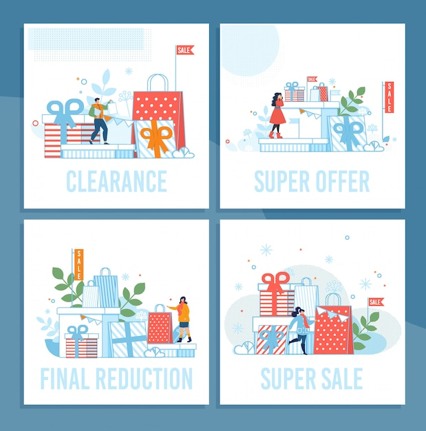Shop sales on winter holidays cartoon cards set Premium Vector