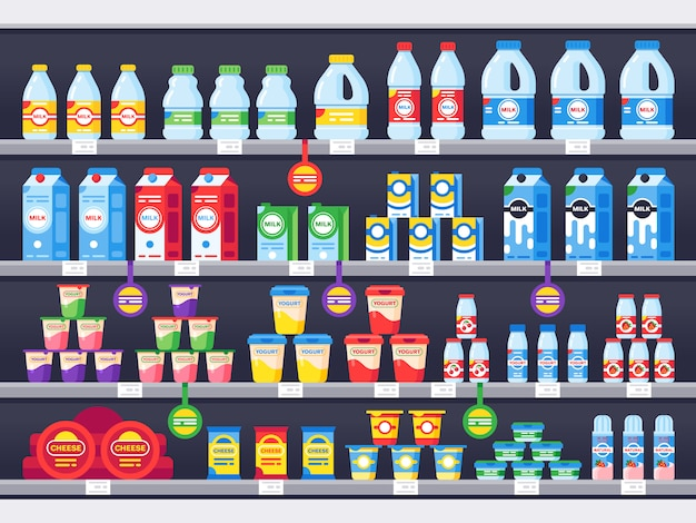 Shop shelf with milk products. dairy grocery store shelves, milk bottle supermarket showcase and cheese product Premium Vector