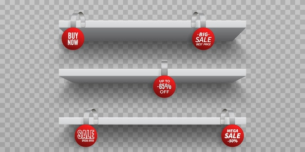 Shop shelves with wobblers. white 3d empty wall shelf with realistic round promotional wobblers. Premium Vector