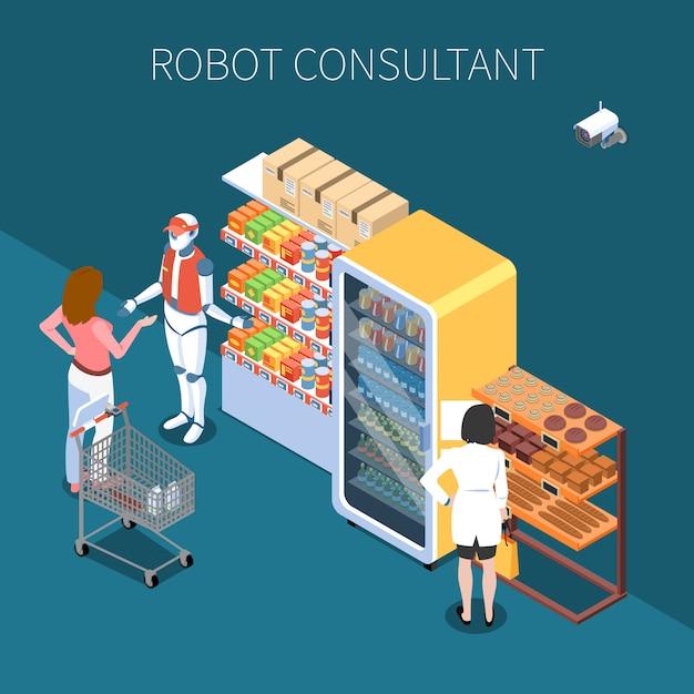 Tecnologia negozio isometrica con acquirenti e consulente robot nel negozio di interni futuri Vettore gratuito